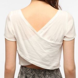 Lucca Couture Cross-Back Tee Chiffon Crop Top XS